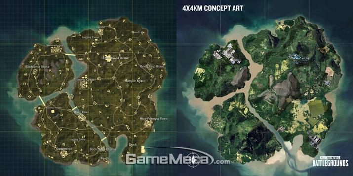 '배틀그라운드' 신규 전장 '새비지(SAVAGE)'의 전경(왼쪽)과 컨셉아트(오른쪽) (사진출처: 게임 공식 웹사이트)