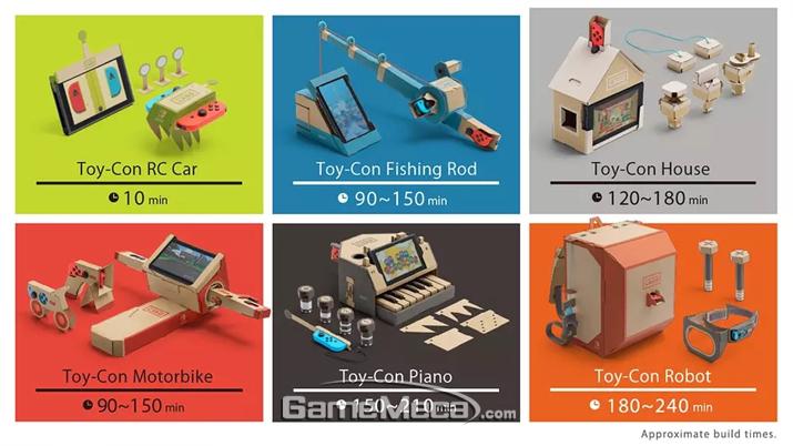 각 토이콘 별 대략적인 제작시간 (사진출처: 게임 공식 웹사이트)