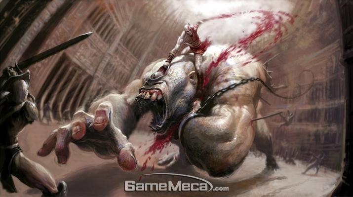 괴물 '퀴클롭스'를 갖고 노는 '크레토스' (사진출처: '갓 오브 워' 공식 블로그)