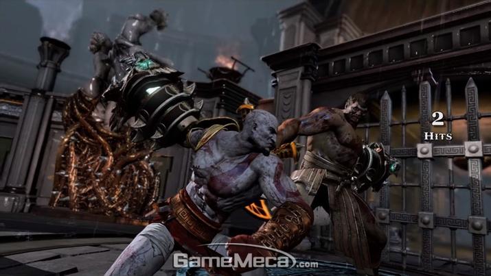 '헤라클레스'를 처참히 두들겨 패는 '크레토스' (사진출처: '갓 오브 워 3' 게임 영상 갈무리)