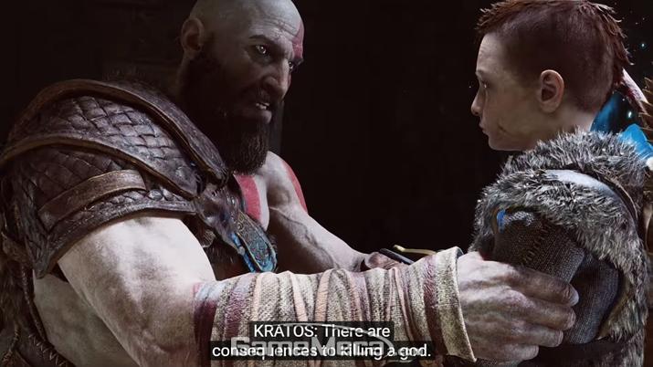 신을 죽이면 결과가 따르니 죽이지 말라고 훈계하는 '크레토스' (사진출처: PS 공식 유튜브 채널 영상 갈무리)