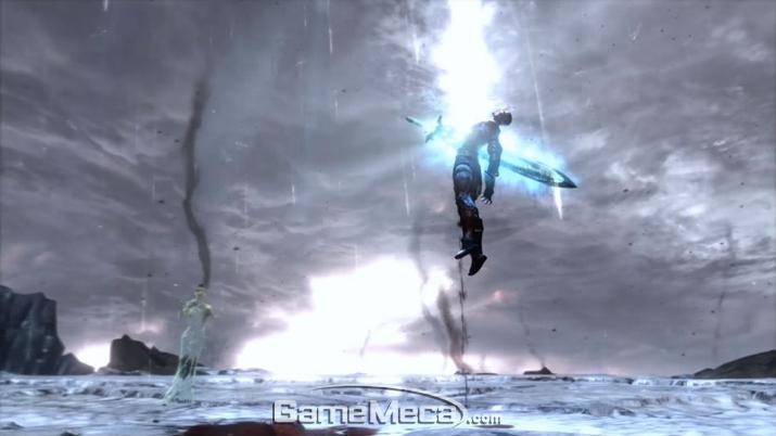 스스로 희생해 자기 영혼에 깃들었던 '희망'을 전세계에 퍼뜨리는 '크레토스' (사진: '갓 오브 워 3' 게임 영상 갈무리)