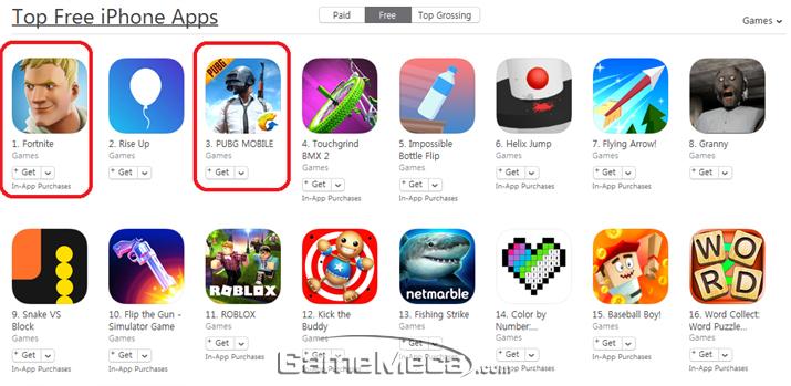 미국 iOS 앱스토어 무료 게임 인기순위 (사진: 게임메카 촬영)