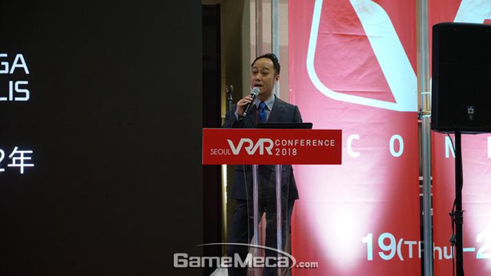 [사진 1] 강연을 진행한 세가 조이폴리스 임원 카즈히코 하야미 (사진출처: 게임메카 촬영)