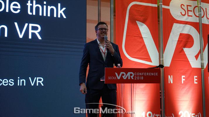 강연을 진행한 토스트 VR 공동 창립자 리차드 이스테스 (사진: 게임메카 촬영)