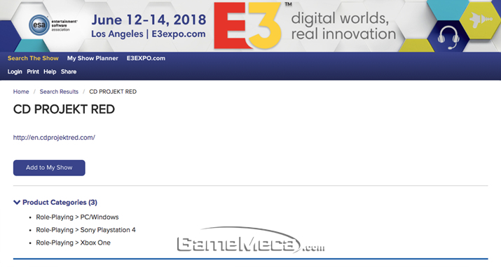 CD프로젝트레드는 PC와 PS4, Xbox One으로 발매될 RPG로 E3에 출전한다 (사진출처: E3 공식 홈페이지)