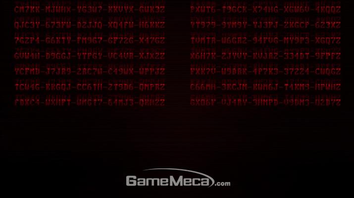 트레일러 시작전에 출력된 무수한 코드가 전부 '더 위처 3: 와일드 헌트'의 리딤코드였다 (사진출처: Xbox 미디어 브리핑 영상 갈무리)