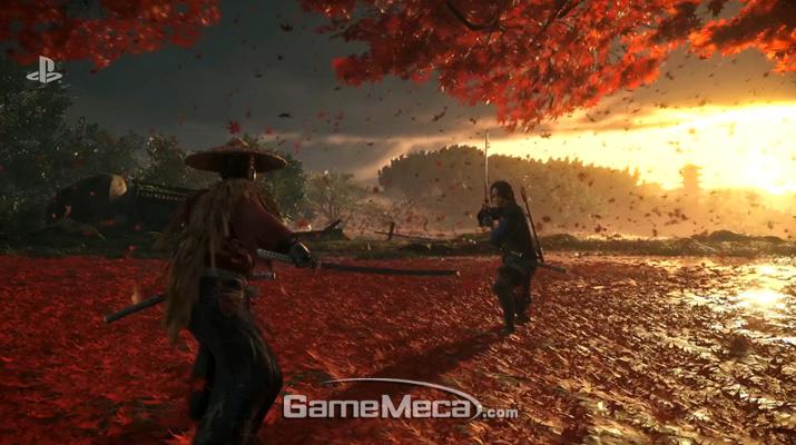 일본풍 오픈월드 액션 게임으로 주목을 받은 '고스트 오브 쓰시마' (사진출처: E3 소니 컨퍼런스 갈무리)