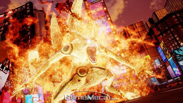 그동안 '나루토' 게임에 나온 구미 장면들보다 훨씬 파괴적이게 묘사된 '구미' 필살기