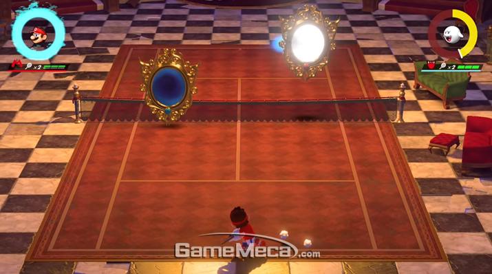 거울이나 기둥, 뻐끔플라워 같은 장애물이 있는 코트도 있다 (사진출처: 게임 공식 홈페이지)