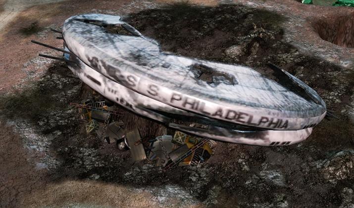 게임 상에서 박살 난 잔해로 등장하는 'GDI' 우주정거장 (사진출처: C&C 위키)