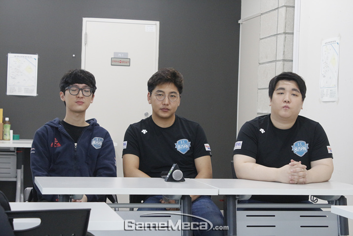 '블소 월드 챔피언십' 한국 대표로 나서는 GC 부산 RED 선수들 (사진: 게임메카 촬영)