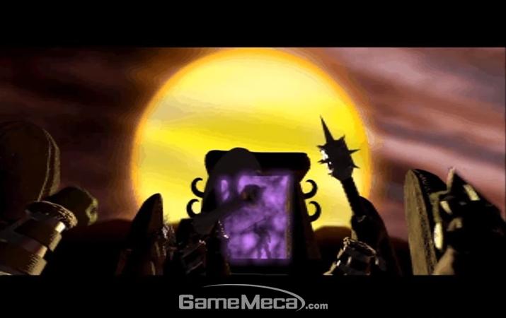 '어둠의 문 너머'에서 동포를 버리고 다른 세계로 도망치는 '오크' (사진: 게임 내 영상 갈무리)