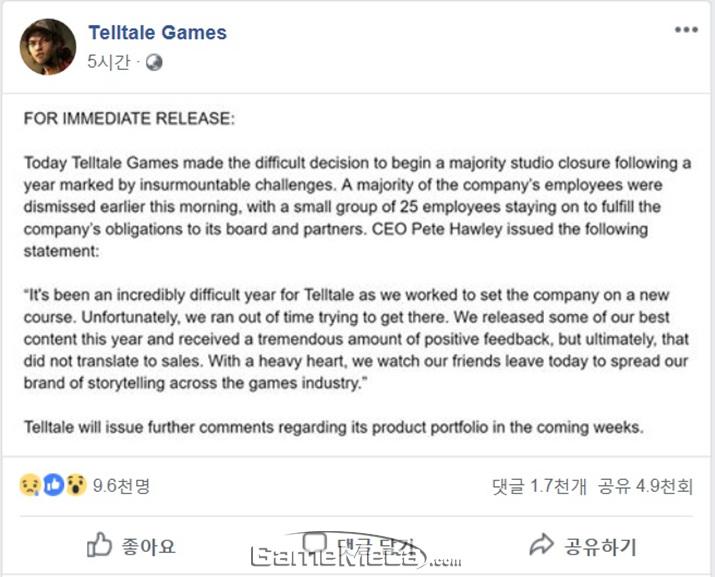 텔테일 게임즈가 밝힌 폐쇄 공지 (사진출처: 텔테일 게임즈 공식 페이스북)