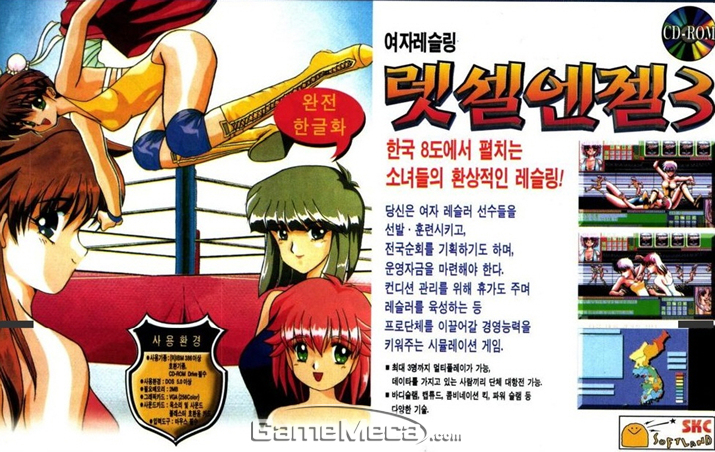미소녀 레슬링 경영 시뮬레이션 '렛셀엔젤 3' 광고 (사진출처: 게임메카 DB)