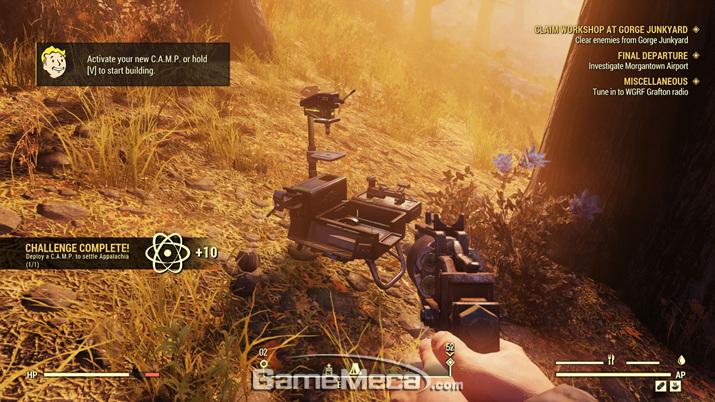 모든 플레이어가 갖고 시작하는 휴대용 정착지 건설장비 C.A.M.P. (사진: 게임메카 촬영)