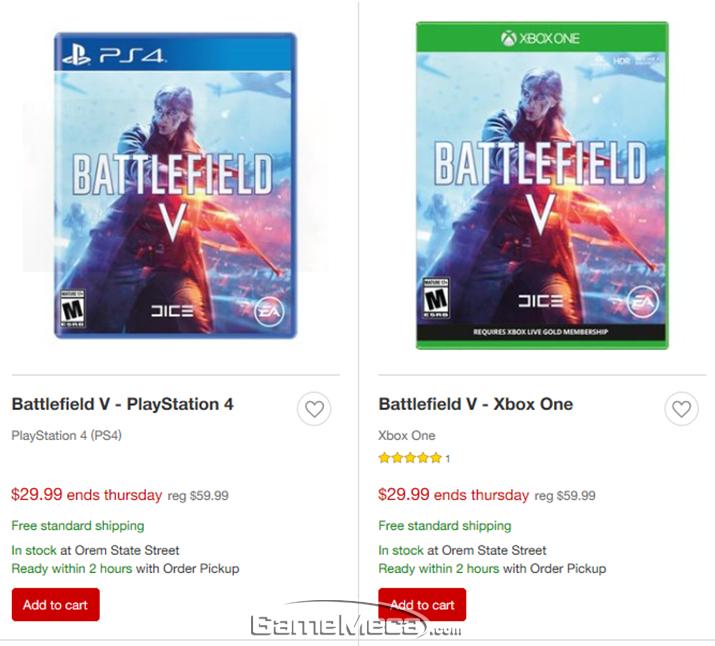 출시 일주일 만에 50% 할인에 들어간 '배틀필드 5' 콘솔판 (사진출처: Target.com)