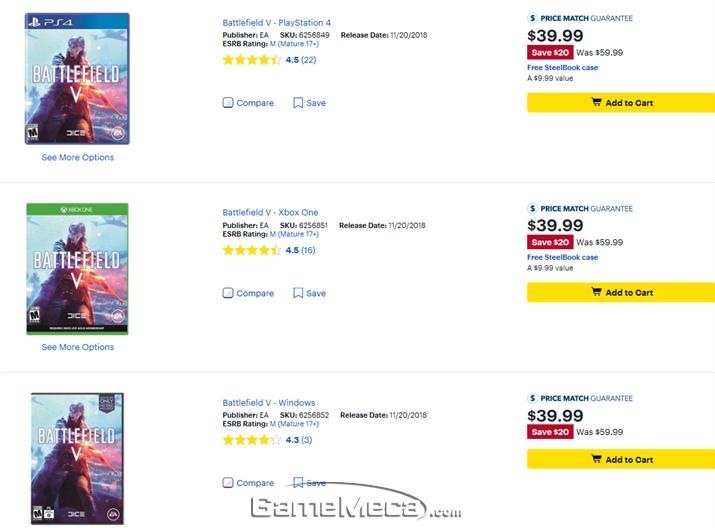 '배틀필드 5' 모든 플랫폼을 33% 할인하는 베스트바이 (사진출처: 베스트바이 쇼핑몰)
