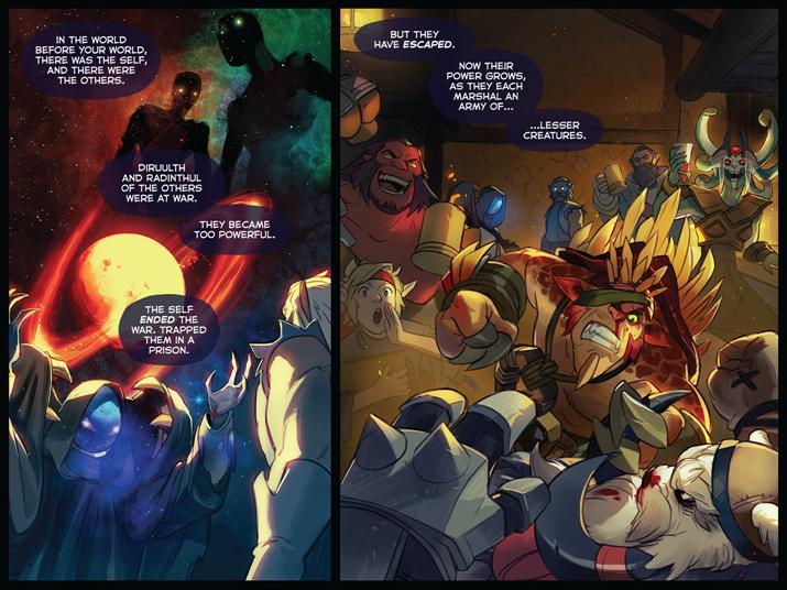 '래딘술'과 '디어룰스'를 설명하는 '제트'를 그린 공식 만화 (사진출처: '도타 2' 공식 홈페이지)