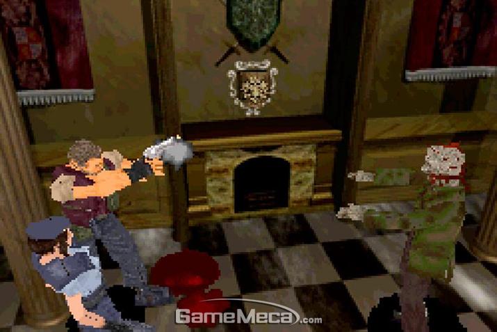 좀비 개를 피해 들어선 저택이지만, 안에도 좀비가 득시글거리던 상황 (사진출처: Retro Collect)