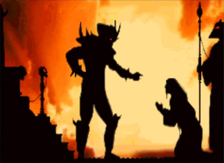 '샤오 칸'에게 기회를 구걸하는 '섕 쑹' (사진출처: '모탈 컴뱃' 위키)