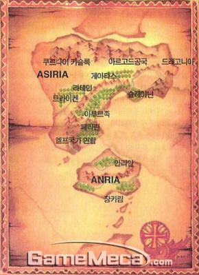 대부분의 지역은 내용도 없고 언급도 안 된 '어스토니시아' 세계지도 (사진출처: 게임메카)