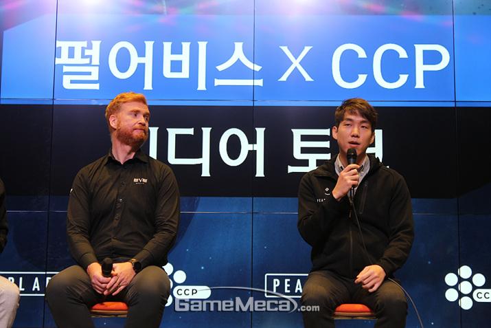 왼쪽부터 CCP게임즈 대표 힐마 피터슨, 펄어비스 대표 정경인 (사진: 게임메카 촬영)