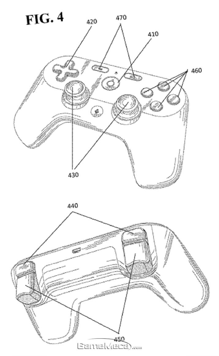 구글이 특허청에 제출했던 게임 컨트롤러 디자인 (사진출처:
