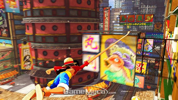 루피의 고무팔을 이용해 공중 액션을 펼칠 수 있다 (사진출처: 게임 공식 사이트)