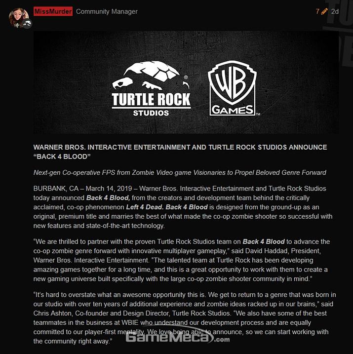 '레프트 4 데드' 제작사가 신작 '백 4 블러드'를 발표했다 (자료출처: 터틀락 스튜디오 공식 홈페이지)