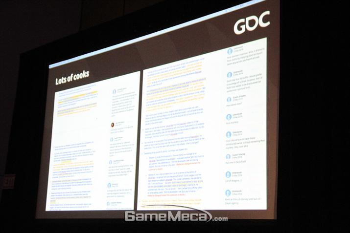 구글 독스를 통해 공유된 스토리 보드 (사진: 게임메카 촬영)