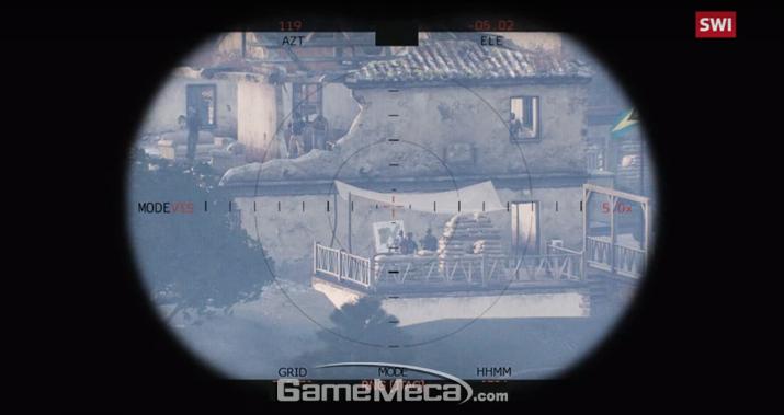 실제 전쟁을 표현하기 위해 게임 내 시야를 흐릿하게 만들었다 (사진출처: 스위스인포 적십자 게임개발 소개영상 갈무리)