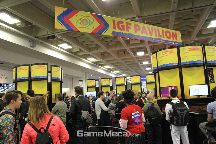 IGF에 출품한 제품들 전부를 즐길 수 잇는 부스다 (사진: 게임메카 촬영)