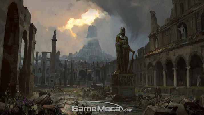 제국 수도 '사안(Sarn)'은 재앙으로 멸망해 변이된 괴물들이 들끓는 유적이 되고 만다 (사진출처: '패스 오브 엑자일' 공식 홈페이지)