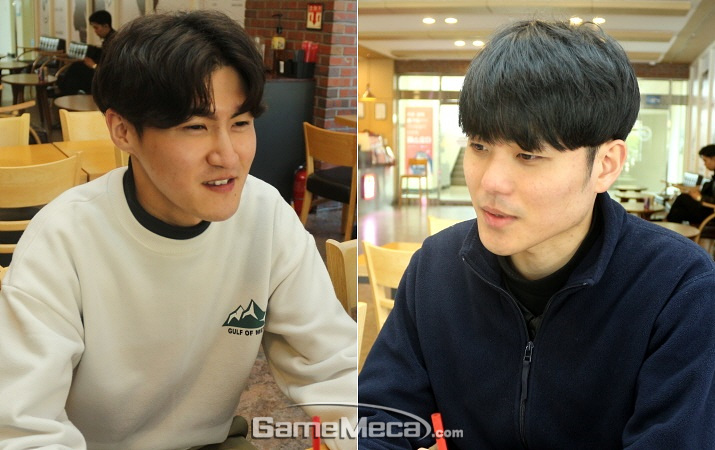 '난세의 영웅' 제작팀인 투캉프로젝트 고용성(좌)와 안겨레(우) (사진: 게임메카 촬영)