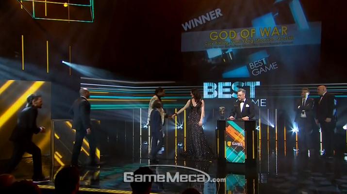 '갓 오브 워'가 BAFTA에서도 최고의 게임 상을 수상했다 (사진출처: BAFTA 공식 방송 갈무리)