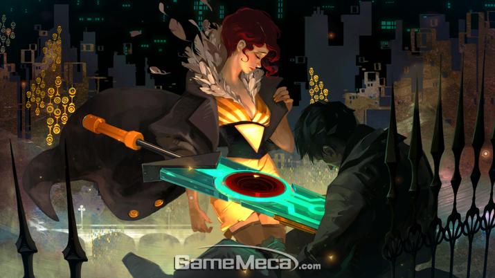 주인공 '레드'가 이름 모를 남자의 몸에 박힌 '트랜지스터'를 뽑으면서 게임은 시작된다 (사진: 게임메카 촬영)