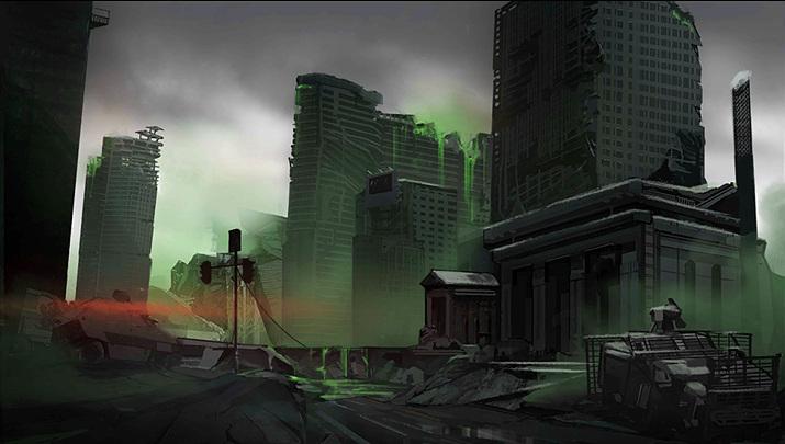 '소녀전선'에 등장한 '붕괴액'으로 폐허가 된 도시 (사진출처: '소녀전선' 위키)