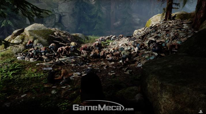 인간들의 시체를 뜯어먹고 있는 수 많은 좀비들 (사진: 공식 영상 갈무리)
