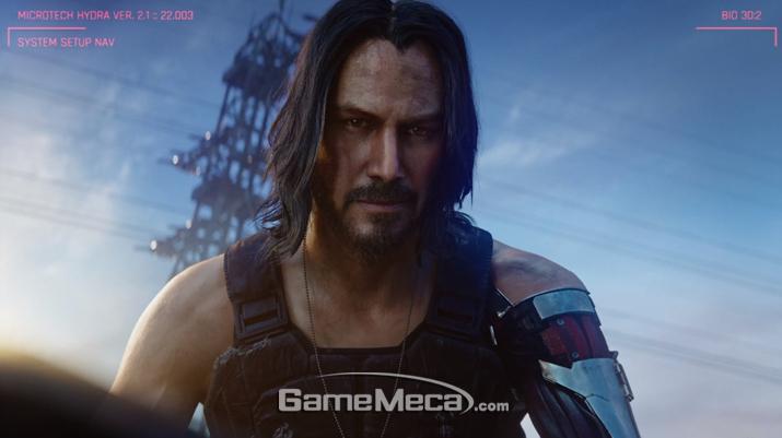 '사이버펑크 2077'에 등장하는 키아누 리브스 (사진: MS 컨퍼런스 영상 갈무리)
