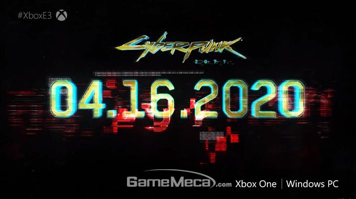 '사이버펑크 2077'은 내년 4월 16일 출시된다 (사진출처: MS E3 2019 브리핑 생중계 갈무리)