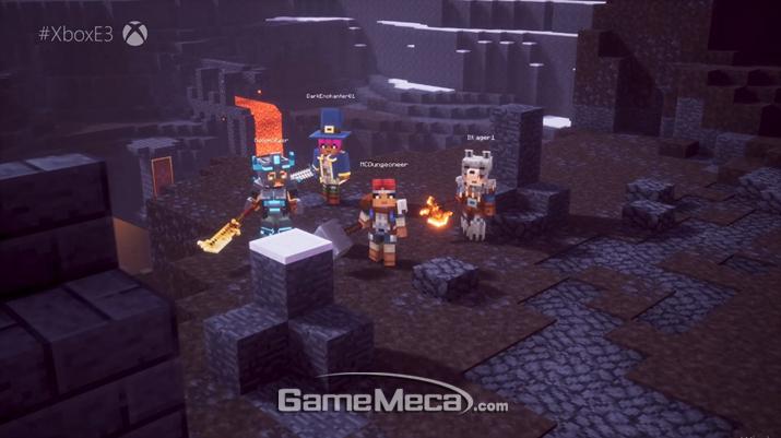 '마인크래프트 던전스'가 공개됐다 (사진출처: MS E3 2019 브리핑 생중계 갈무리)