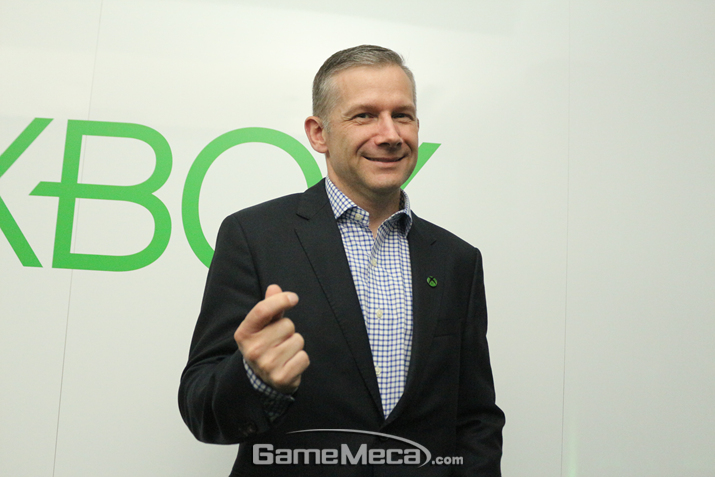 국내 Xbox 시장 확대 가능성을 높게 보고 있다는 제레미 힌튼 Xbox 아시아 총괄 (사진: 게임메카 촬영)