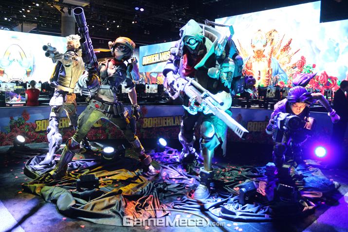 '보더랜드 3'에 나오는 4명의 주인공 캐릭터들 (사진: 게임메카 촬영)