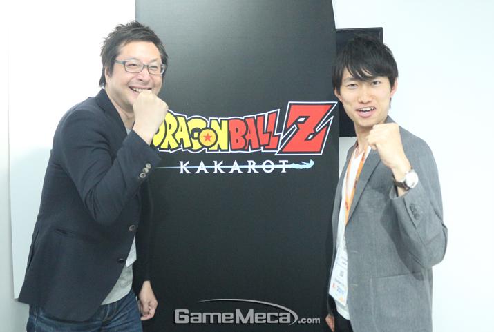 사이버커넥트2에서 '드래곤볼Z 카카로트'를 제작 중인 하라 료스케 프로듀서(우)와 키모토 카즈키 디렉터(좌) (사진: 게임메카 촬영)