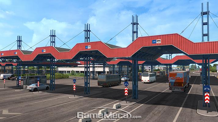검문소가 보이는 '유로 트럭 시뮬레이터 2: 흑해로 가는 길' 스크린샷 (사진출처: SCS 소프트웨어 공식 블로그)