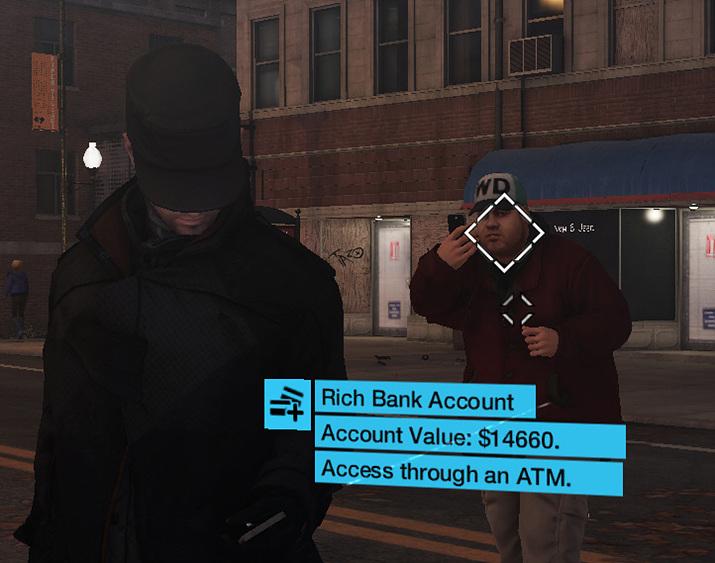 게임상에서도 지나가던 사람 계좌를 해킹해 잔고를 털어버릴 수도 있다 (사진출처: '와치독' 위키)