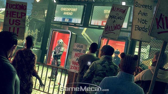 자동화기로 무장한 용병이 치안 업무를 담당하는 런던 (사진출처:'와치독:리전' 공식 홈페이지)