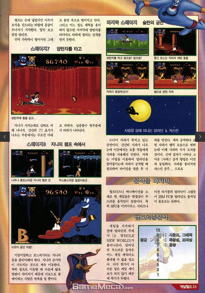 3페이지에 걸쳐 1~9스테이지 공략이 실려 있다 (사진출처: 게임메카 DB)