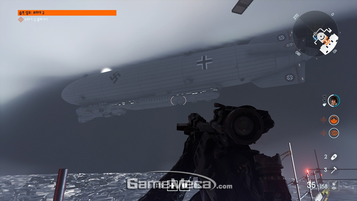 하지만 이 게임이 '울펜슈타인'이란걸 느낄 수 있는 부분은 저런 비행선 정도가 전부 (사진: 게임메카 촬영)